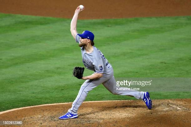 Josh Staumont of the Kansas City Royals throws a pitch in the eighth inning against the Los Angeles Angels at Angel Stadium of Anaheim on June 08,...