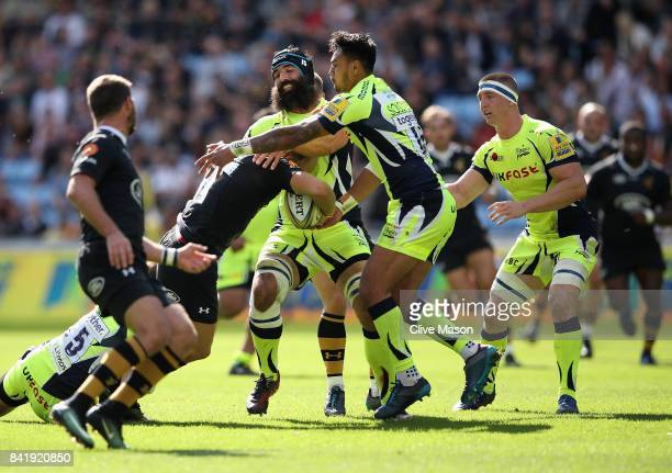 Josh Stauss of Sale Sharks in action during the Aviva Premiership match between Wasps and Sale Sharks at The Ricoh Arena on September 2 2017 in...