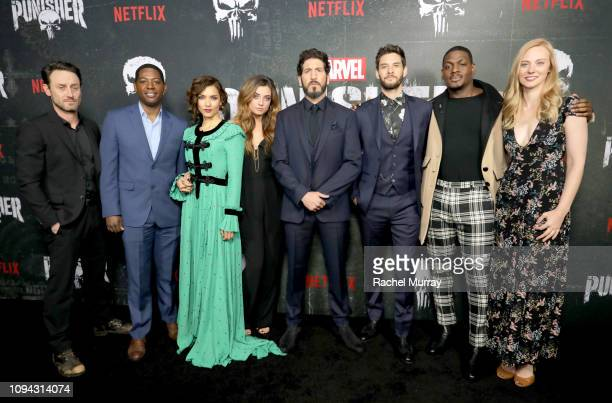 "Josh Stewart, Royce Johnson, Amber Rose Revah, Giorgia Whigham, Jon Bernthal, Ben Barnes, Jason R. Moore and Deborah Ann Woll attend ""Marvel's The..."