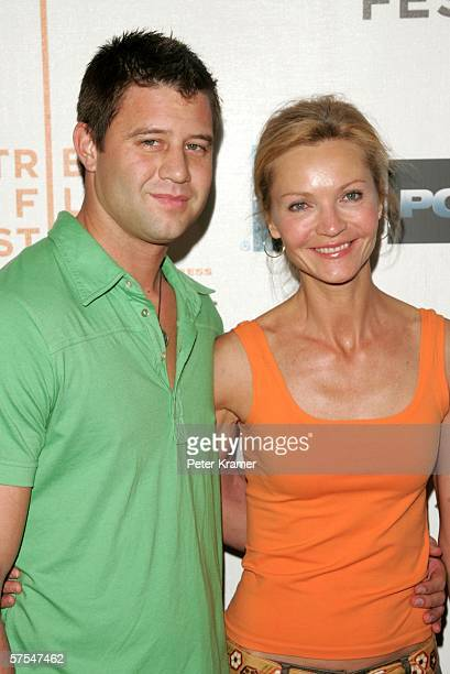 """Josh Stolz and actress Joan Allen attend the """"Poseidon"""" premiere at the Tribeca Performing Arts Center May 6, 2006 in New York City."""