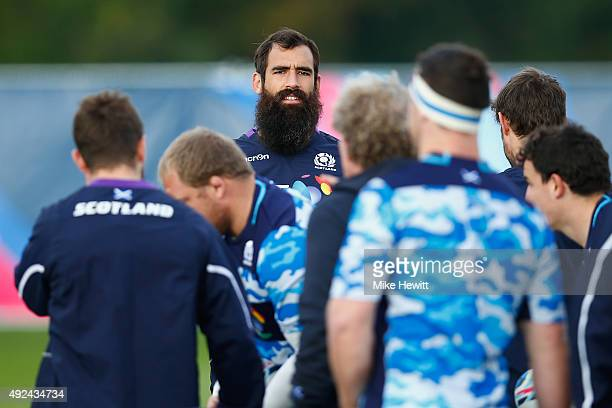Josh Strauss and his teammates prepare for a Scotland Training session ahead of their Rugby World Cup Quarter Final against Australia at Surrey...