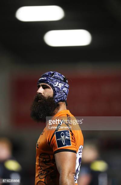 Josh Strauss of Sale Sharks during the AngloWelsh Cup match between Sale Sharks and Saracens at AJ Bell Stadium on November 10 2017 in Salford England