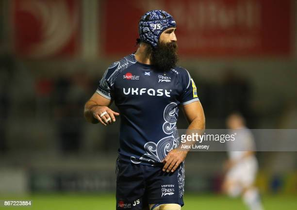 Josh Strauss of Sale Sharks during the Aviva Premiership match between Sale Sharks and Exeter Chiefs at AJ Bell Stadium on October 27 2017 in Salford...