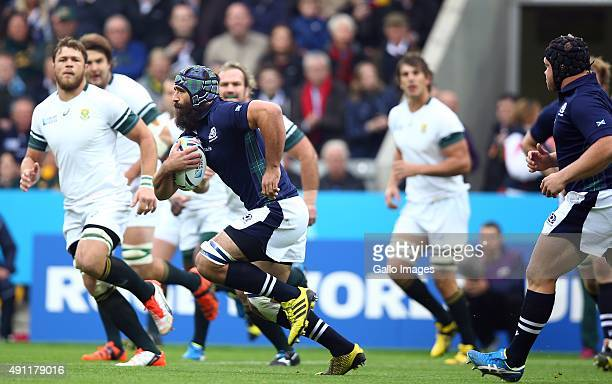 Josh Strauss of Scotland during the Rugby World Cup 2015 Pool B match between South Africa and Scotland at St James Park on October 03 2015 in...