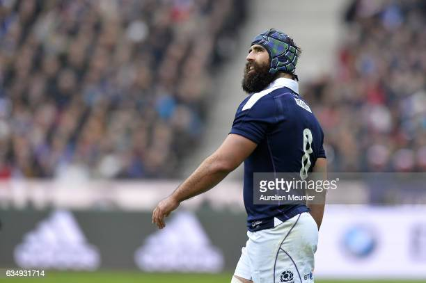 Josh Strauss of Scotland reacts during the RBS Six Nations match between France and Scotland at Stade de France on February 12 2017 in Paris France