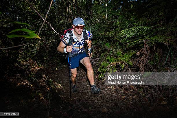 Josh Street from Team Adventurejunkiecomau from Australia hiking up towards 'The Castle' in Morton National Park during the Adventure Race World...