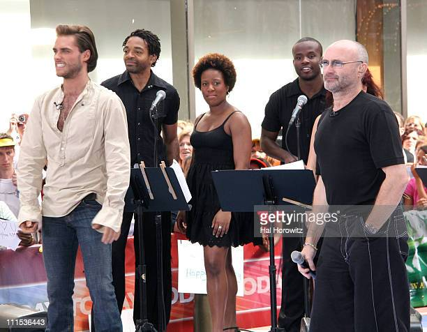 Josh Strickland and Phil Collins during Phil Collins Performs on NBC's 'The Today Show' June 23 2006 at NBC Studios in New York New York United States