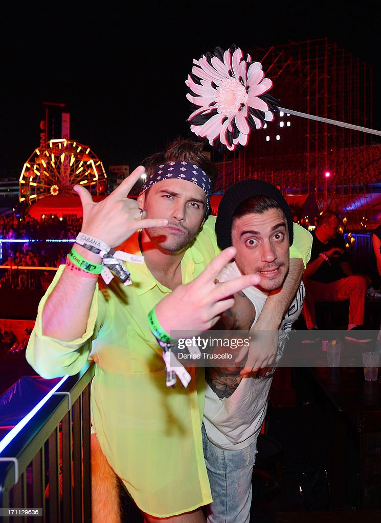 Josh Strickland (L) and Tal Cooperman during the 17th annual Electric Daisy Carnival at Las Vegas Motor Speedway on June 21, 2013 in Las Vegas, Nevada.