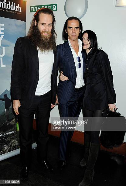 Josh T Pearson Nick Cave and Susie Bick arrive at the Glenfiddich Mojo Honours List 2011 awards ceremony at The Brewery on July 21 2011 in London...