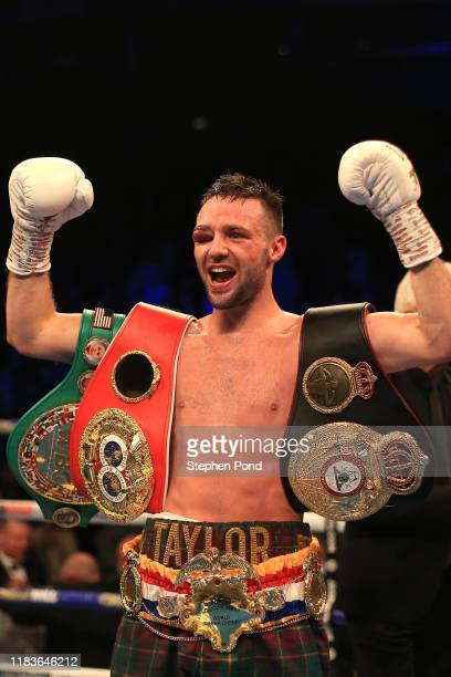 Josh Taylor celebrates victory over Regis Prograis during the World Boxing Super Series SuperLightweight Ali Trophy Final at The O2 Arena on October...