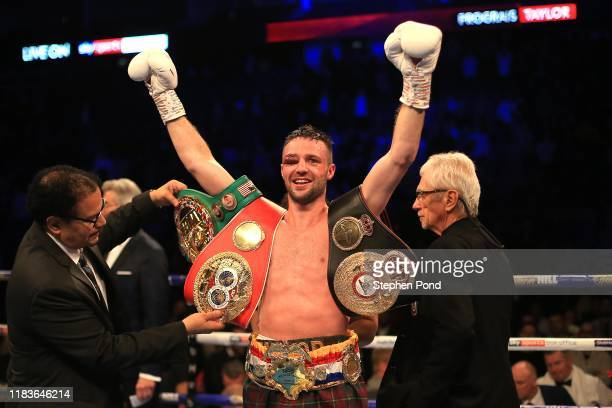 Josh Taylor celebrates victory over Regis Prograis during the World Boxing Super Series Super-Lightweight Ali Trophy Final at The O2 Arena on October...