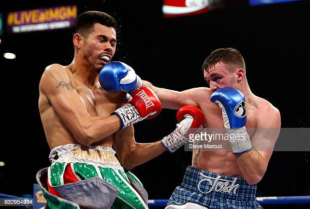 Josh Taylor connects with a punch on Alfonso Olvera during their super lightweight fight at MGM Grand Garden Arena on January 28 2017 in Las Vegas...
