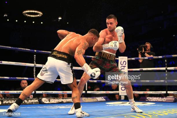 Josh Taylor in action against Regis Prograis during the World Boxing Super Series SuperLightweight Ali Trophy Final at The O2 Arena on October 26...