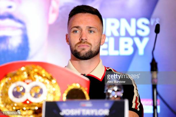 Josh Taylor looks on during the Regis Prograis and Josh Taylor Press Conference in the lead up to the WBSS SuperLightweight Ali Trophy Final at Park...