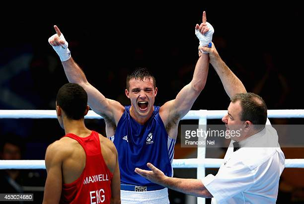 Josh Taylor of Scotland celebrates after winning against Samuel Maxwell of England during the Men's Light Welter 64kg SemiFinals Boxing at Scottish...
