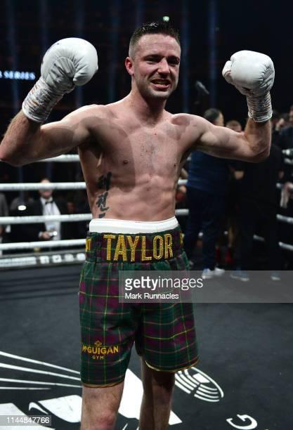 Josh Taylor of Scotland celebrates as he beats Ivan Baranchyk of Russia on points during the WBSS Super Lightweight Semi Final IBF World Championship...