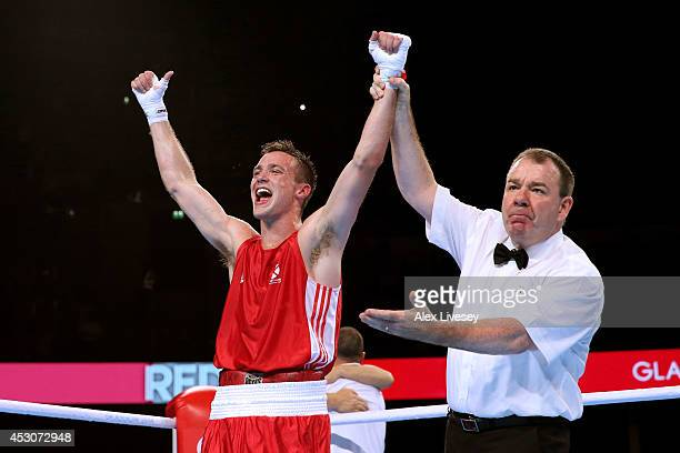 Josh Taylor of Scotland celebrates winning the gold medal against Junias Jonas of Namibia in the Men's Light Welter Final at SSE Hydro during day ten...