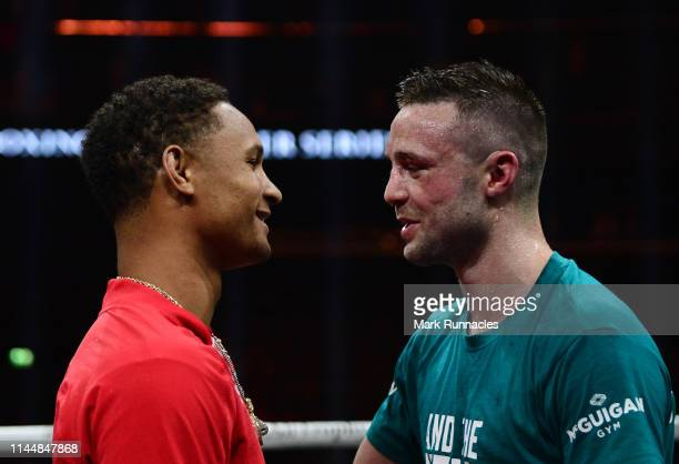 Josh Taylor of Scotland speaks with his Opponent for the final match Regis Prograis of USA after beating Ivan Baranchyk of Russia on points during...