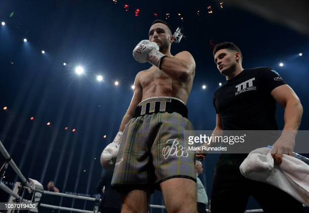 Josh Taylor of United Kingdom ahead of his fight with Ryan Martin of USA in the World Boxing Council Silver Super Lightweight Title bout during the...