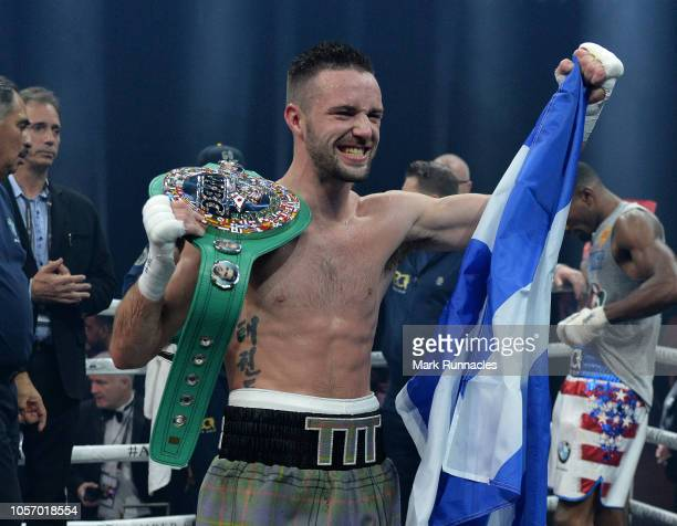 Josh Taylor of United Kingdom celebrates after beating Ryan Martin of USA in the World Boxing Council Silver Super Lightweight Title bout during the...