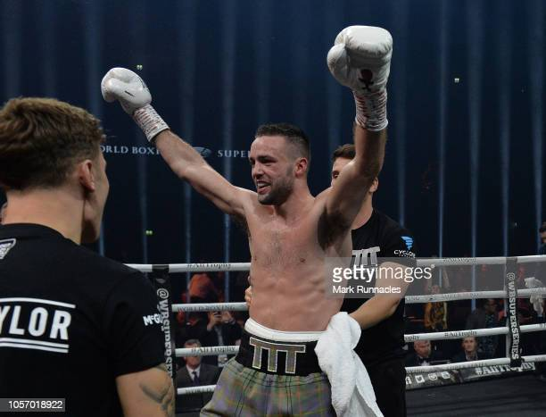 Josh Taylor of United Kingdom reacts as he beats Ryan Martin of USA in the World Boxing Council Silver Super Lightweight Title bout during the Ali...