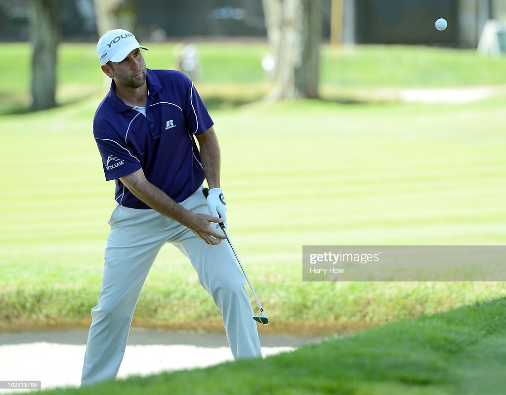 Josh Teater hits out of the 11th bunker during the third round of the Northern Trust Open at the Riviera Country Club on February 16, 2013 in Pacific Palisades, California.