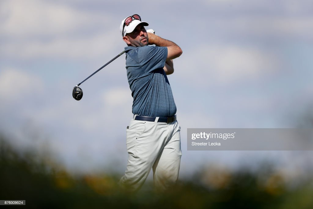 Josh Teater of the United States plays his shot from the eighth tee during the third round of The RSM Classic at Sea Island Golf Club Seaside Course on November 18, 2017 in St Simons Island, Georgia.