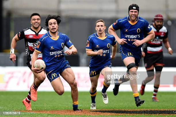 Josh Timu of Otago makes a break with the ball during the round 6 Mitre 10 Cup match between Otago and Counties Manukau at Forsyth Barr Stadium on...