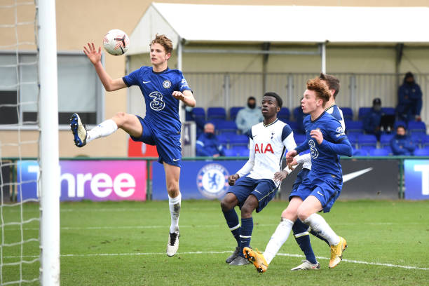 Josh Tobin of Chelsea heads for goal during the Chelsea v Tottenham Hotspur U18 Premier League match on March 6, 2021 in Cobham, England.
