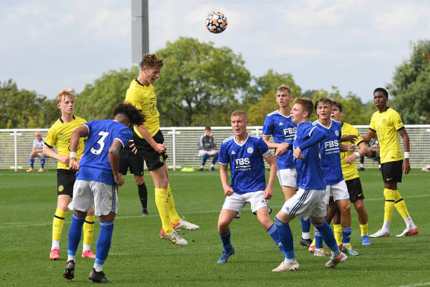Josh Tobin of Chelsea heads towards goal during the Leicester City v Chelsea U18 Premier League match on September 25, 2021 in Loughborough, England.
