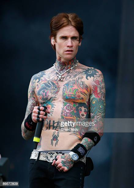 Josh Todd of Buckcherry performs on stage at Knebworth House on August 2, 2009 in Stevenage, England.