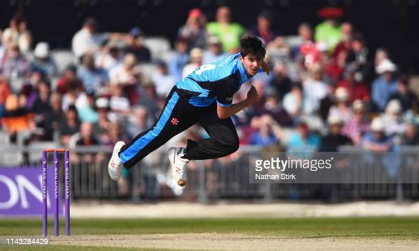 Josh Tongue of Worcestershire runs into bowl during the Royal London One Day Cup match between Lancashire and Worcestershire at Emirates Old Trafford...