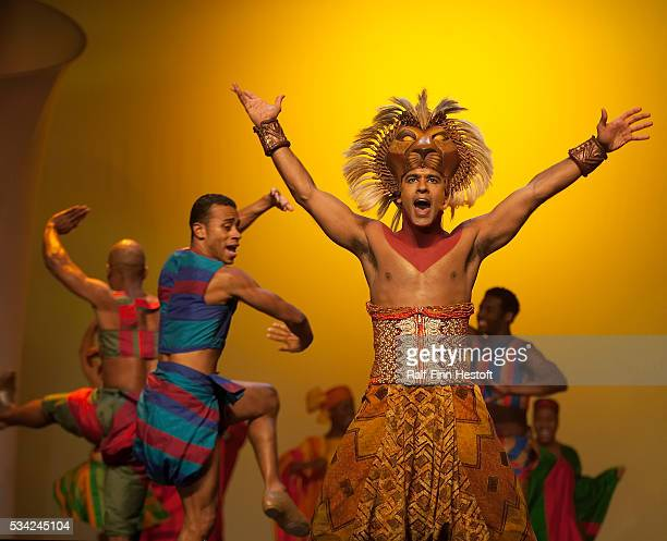Josh Tower as Simba in the Broadway musical The Lion King performs for tour and travel operators at the 2005 PowWow Convention at the Javits Center...