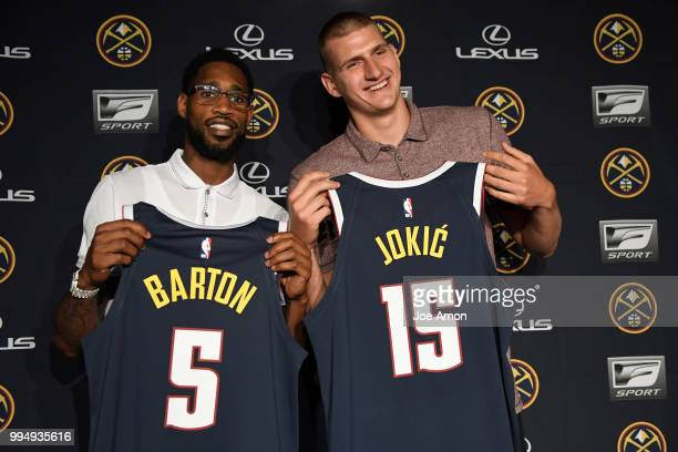 Josh Tthe Nuggets announce new contracts for Will Barton and Nikola Jokic at the Pepsi Center on July 9 2018 in Denver Colorado