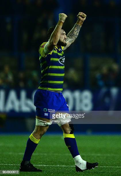 Josh Turnbull of Cardiff Blues celebrates at the final whistle during the European Rugby Challenge Cup match between Cardiff Blues and Toulouse at...