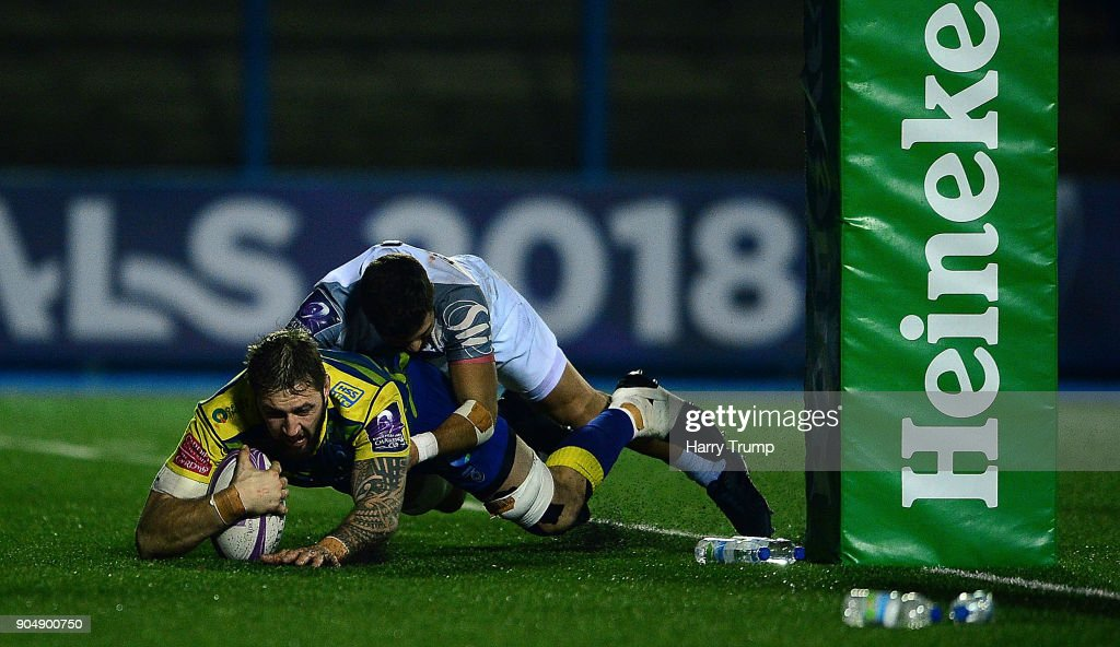 Josh Turnbull of Cardiff Blues goes over for a try which is later disallowed during the European Rugby Challenge Cup match between Cardiff Blues and Toulouse at Cardiff Arms Park on January 14, 2018 in Cardiff, United Kingdom.