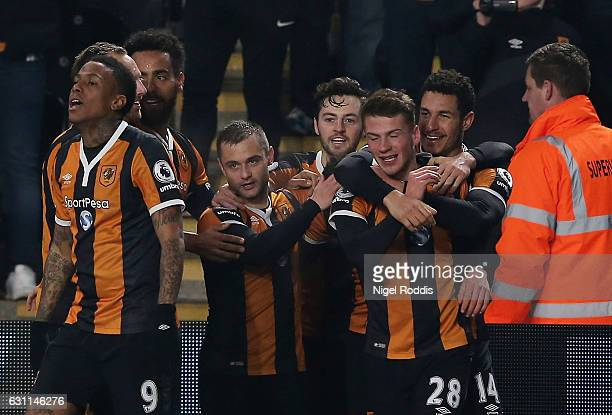 Josh Tymon of Hull City celebrates with team mates after scoring his sides second goal during the Emirates FA Cup third round match between Hull City...