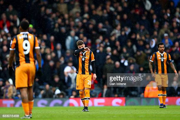 Josh Tymon of Hull City shows his dejection after conceding a goal during the Emirates FA Cup Fourth Round match between Fulham and Hull City at...