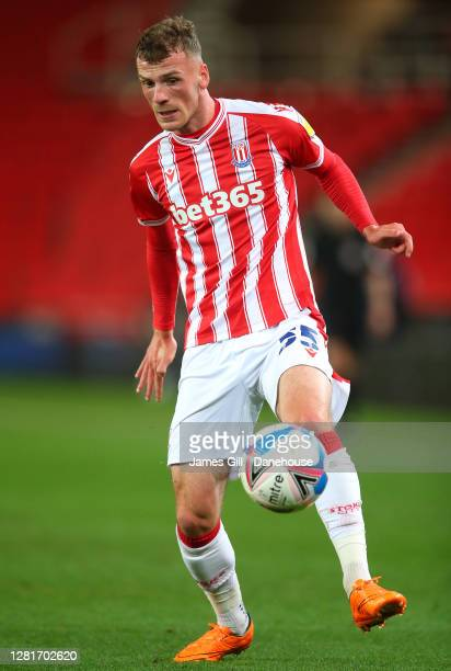 Josh Tymon of Stoke City controls the ball during the Sky Bet Championship match between Stoke City and Barnsley at Bet365 Stadium on October 21 2020...