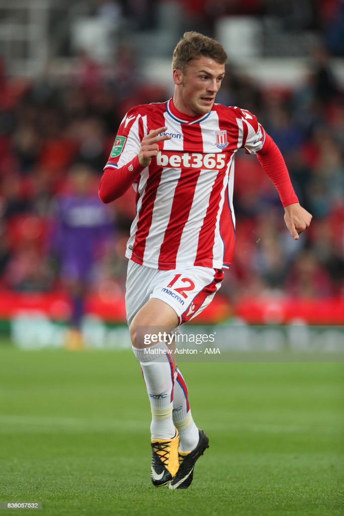 Josh Tymon of Stoke City during the Carabao Cup Second Round match between Stoke City and Rochdale at Bet365 Stadium on August 23, 2017 in Stoke on Trent, England.