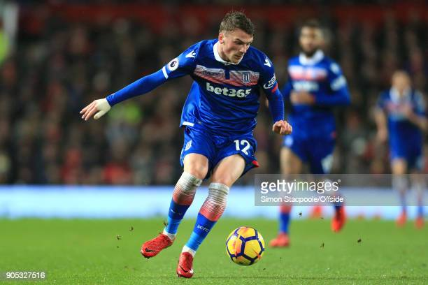 Josh Tymon of Stoke City during the Premier League match between Manchester United and Stoke City at Old Trafford on January 15 2018 in Manchester...
