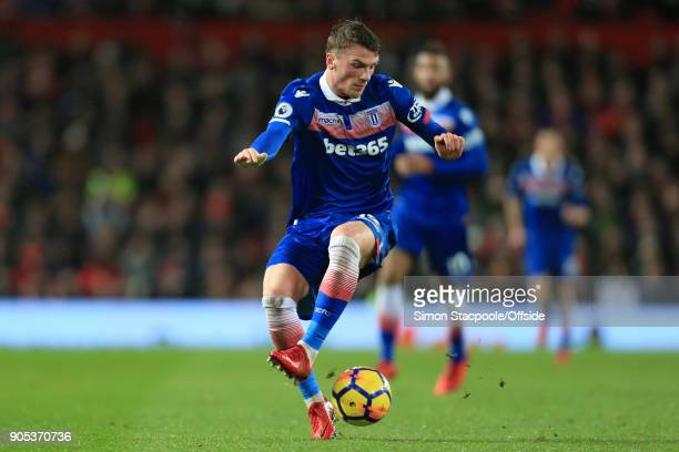 Josh Tymon of Stoke in action during the Premier League match between Manchester United and Stoke City at Old Trafford on January 15 2018 in...