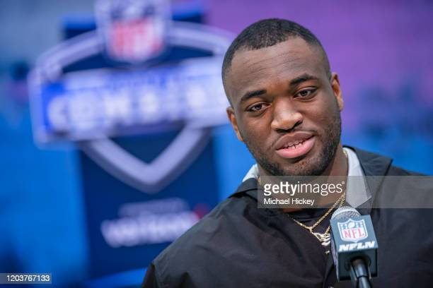 Josh Uche #LB39 of the Michigan Wolverines speaks to the media on day three of the NFL Combine at Lucas Oil Stadium on February 27 2020 in...