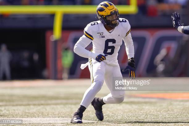 Josh Uche of the Michigan Wolverines is seen during the game against the Illinois Fighting Illini at Memorial Stadium on October 12 2019 in Champaign...