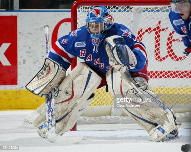 Josh Unice of the Kitchener Rangers gets set to make a save in a game against the London Knights on December 9 2007 at the John Labatt Centre in...