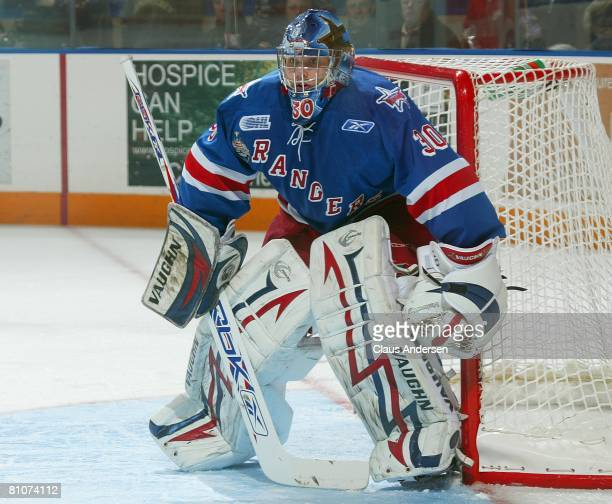 Josh Unice of the Kitchener Rangers waits for a shot in game 7 of the OHL Championship final against the Belleville Bulls on May 12 2008 at the...