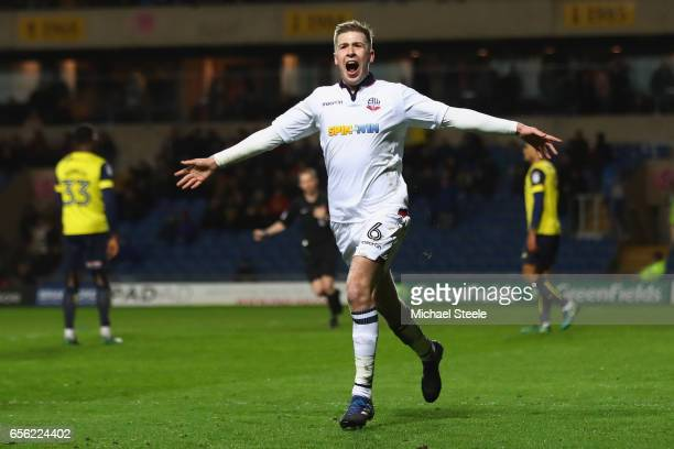 Josh Vela of Bolton celebrates scoring his sides fourth goal during the Sky Bet League One match between Oxford United and Bolton Wanderers at the...