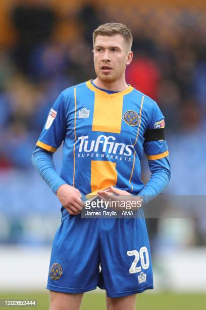 Josh Vela of Shrewsbury Town during the Sky Bet League One match between Shrewsbury Town and Doncaster Rovers at Montgomery Waters Meadow on February...