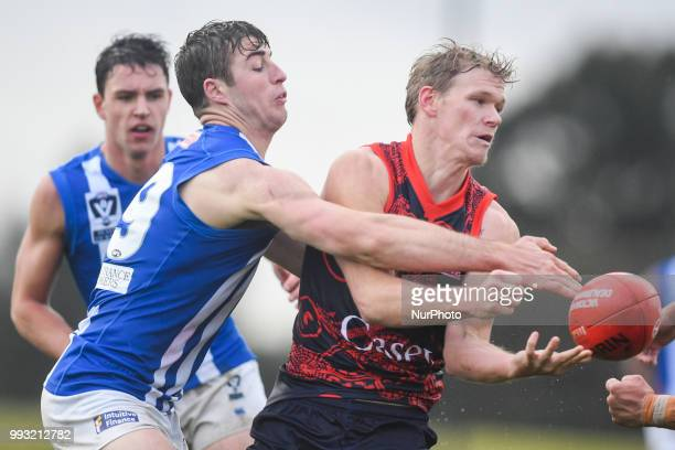 Josh Wagner of the Casey Demons passes the ball during the VFL round 14 game between the Casey Demons and North Melbourne at Casey Fields in...
