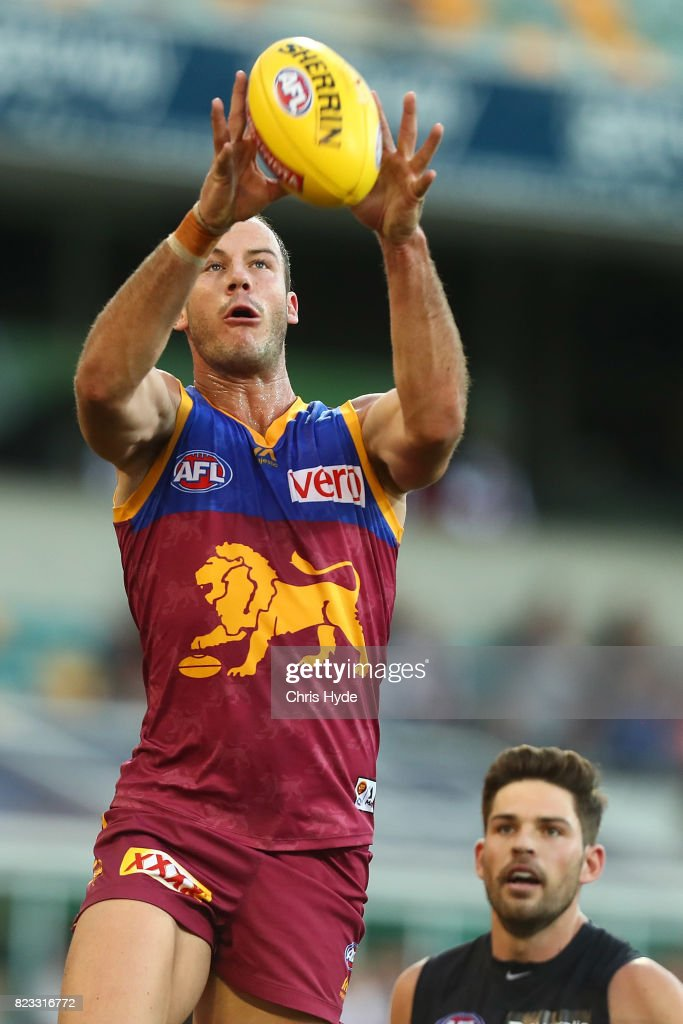 Josh Walker of the Lions takes a mark during the round 18 AFL match between the Brisbane Lions and the Carlton Blues at The Gabba on July 23, 2017 in Brisbane, Australia.